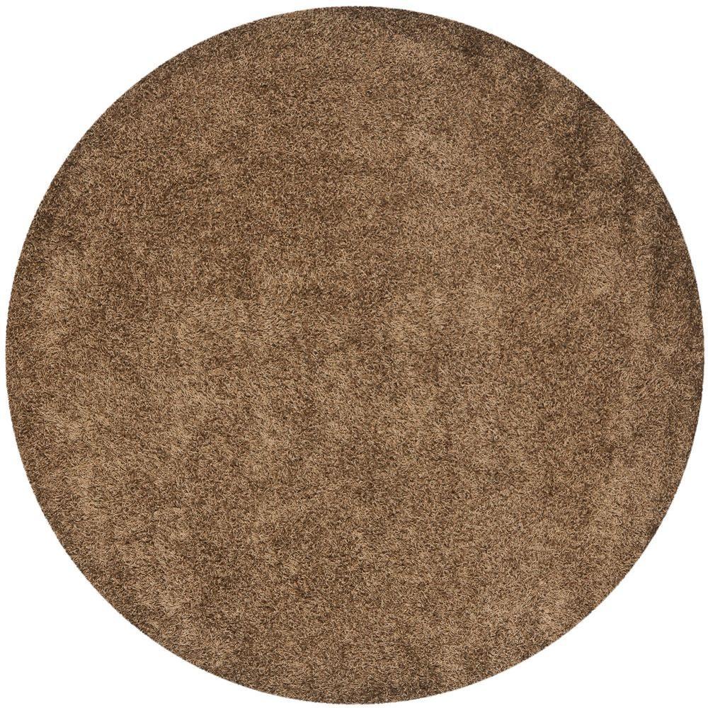 safavieh monterey shag light brown 7 ft x 7 ft round area rug sg851l 7r the home depot. Black Bedroom Furniture Sets. Home Design Ideas