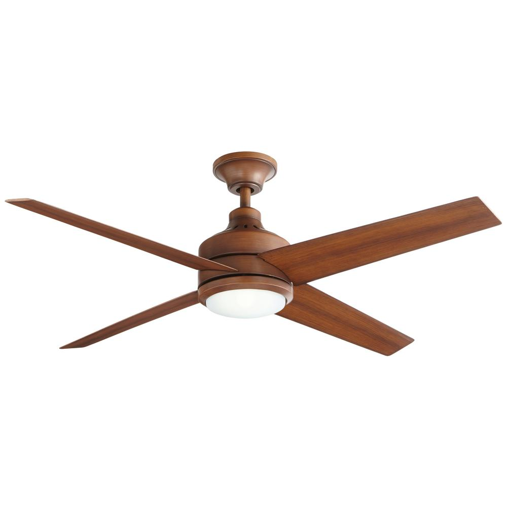 Home Decorators Collection Mercer 52 In Led Indoor Distressed Koa Ceiling Fan With Light Kit