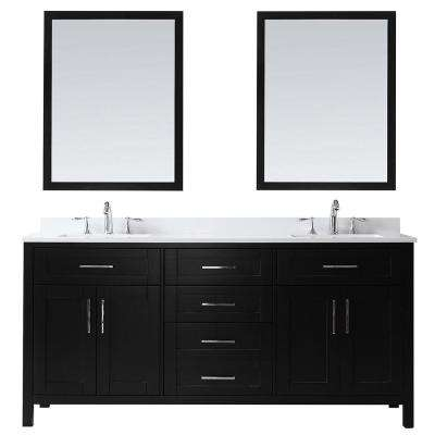 OVE Tahoe 72 in. W Vanity in Espresso with Cultured Marble Vanity Top in White with White Basins and Mirrors