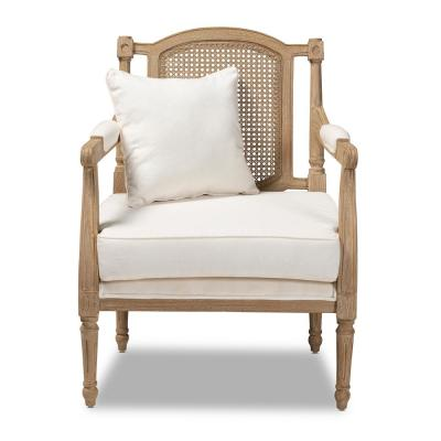 Clemence Ivory and Oak Fabric Armchair