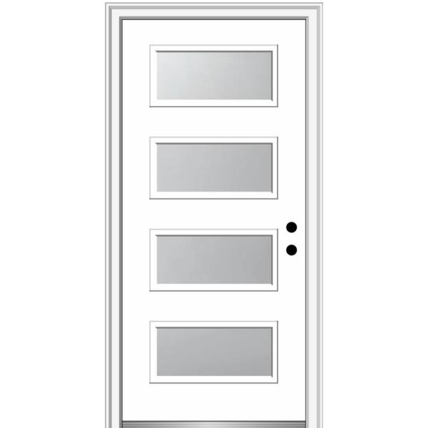 Mmi Door 36 In X 80 In Celeste Left Hand Inswing 4 Lite Frosted Glass Painted Steel Prehung Front Door On 4 9 16 In Frame Z0352342l The Home Depot