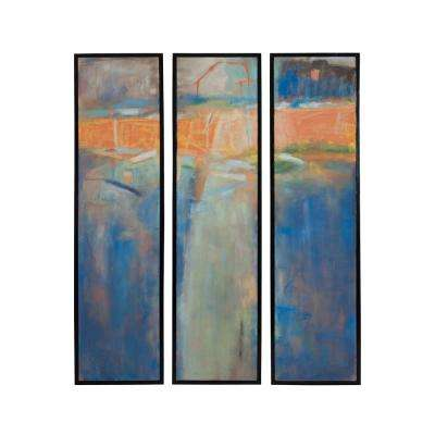 """48 in. x 12 in. """"Abstract In Three"""" Hand Painted Framed Canvas Wall Art (Set of 3)"""