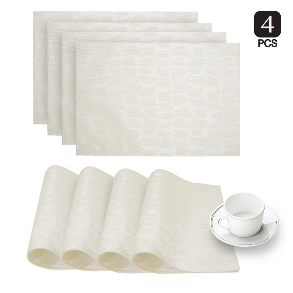 Collage White Printed Fabric Placemat (Set of 4)