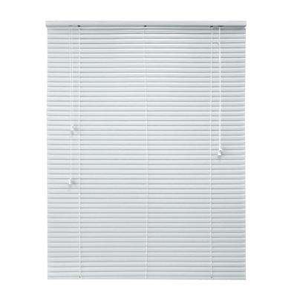 White 1 in. Room Darkening Aluminum Mini Blind - 35 in. W x 64 in. L (Actual Size 34.5 in. W x 64 in. L)