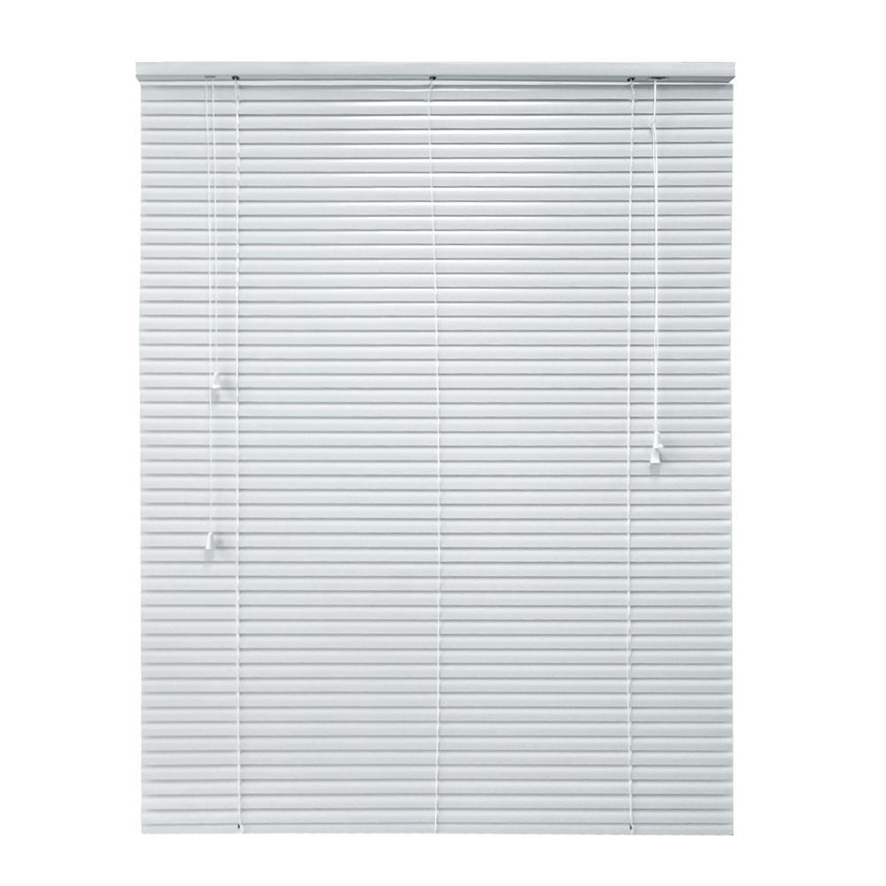 hampton bay Cut-to-Width 36 in. W x 64 in. L White 1 in. Room Darkening Aluminum Mini Blind