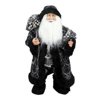 24 in. Standing Santa Claus in Silver and Black with Gifts Christmas Figure
