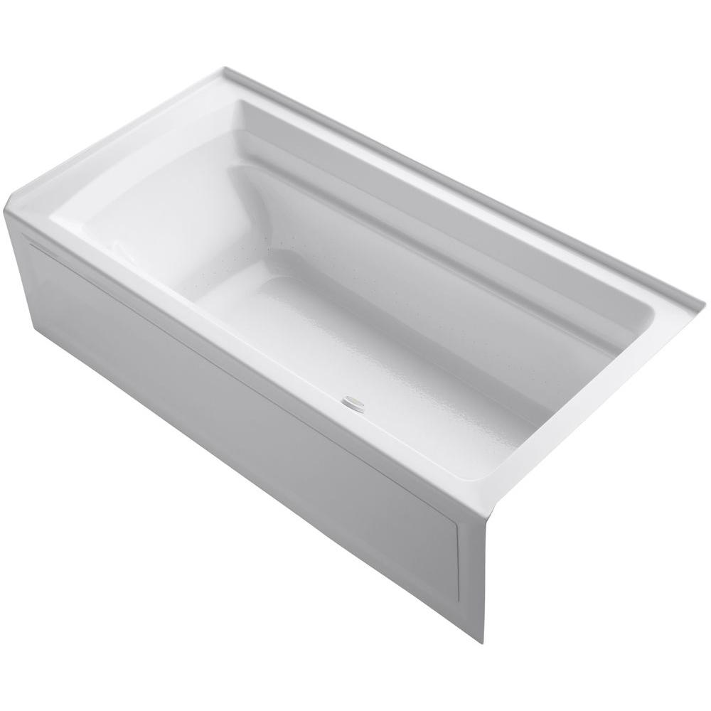 KOHLER Archer 6 ft. Acrylic Right Drain Rectangular Alcove Whirlpool Bathtub in White