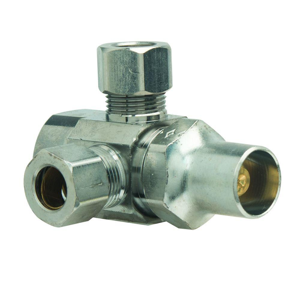 BrassCraft 1/2 in. FIP Inlet x 3/8 in. O.D. Comp x 3/8 in. O.D. Comp Dual Outlet Multi-Turn Valve with Lockshield and Loose Key
