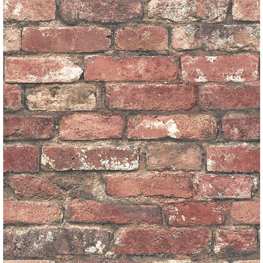 Brewster Loft Red Brick Wallpaper Sample