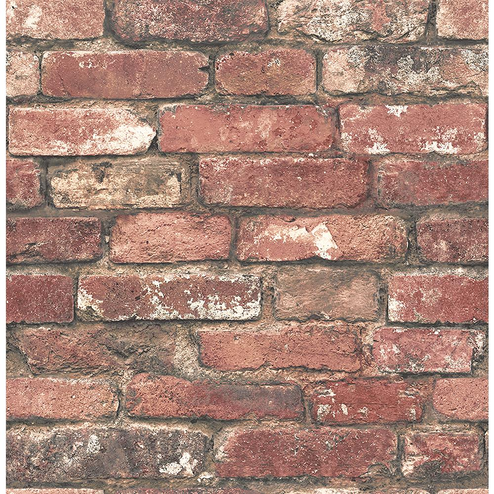 Superb Red Brick Wallpaper Part - 2: Brewster Loft Red Brick Wallpaper Sample