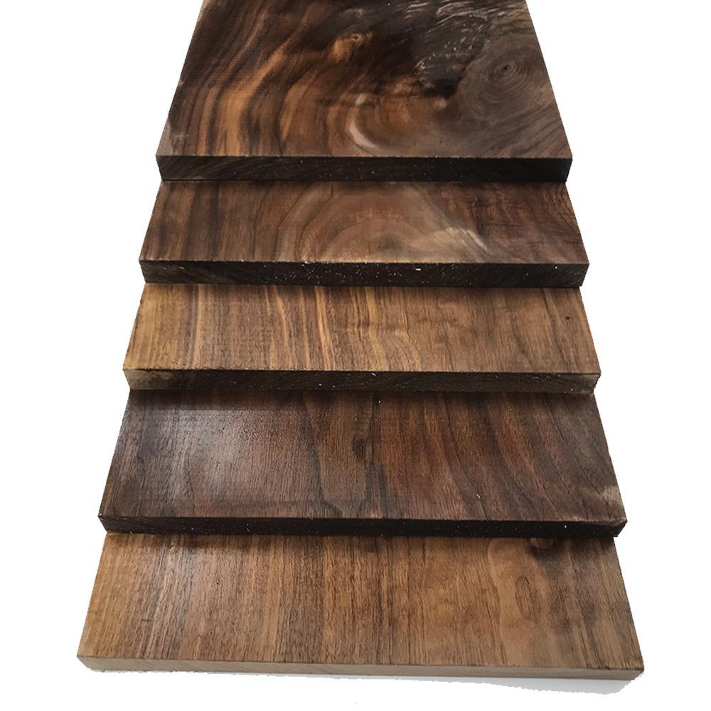 1 in. x 12 in. x 2 ft. Walnut S4S Board (5-Pack)