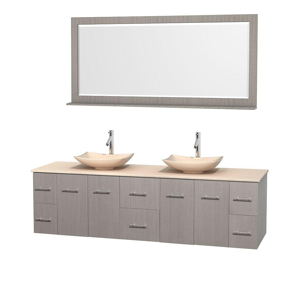 Centra 80 in. Double Vanity in Gray Oak with Marble Vanity Top in Ivory, Marble Sinks and 70 in. Mirror