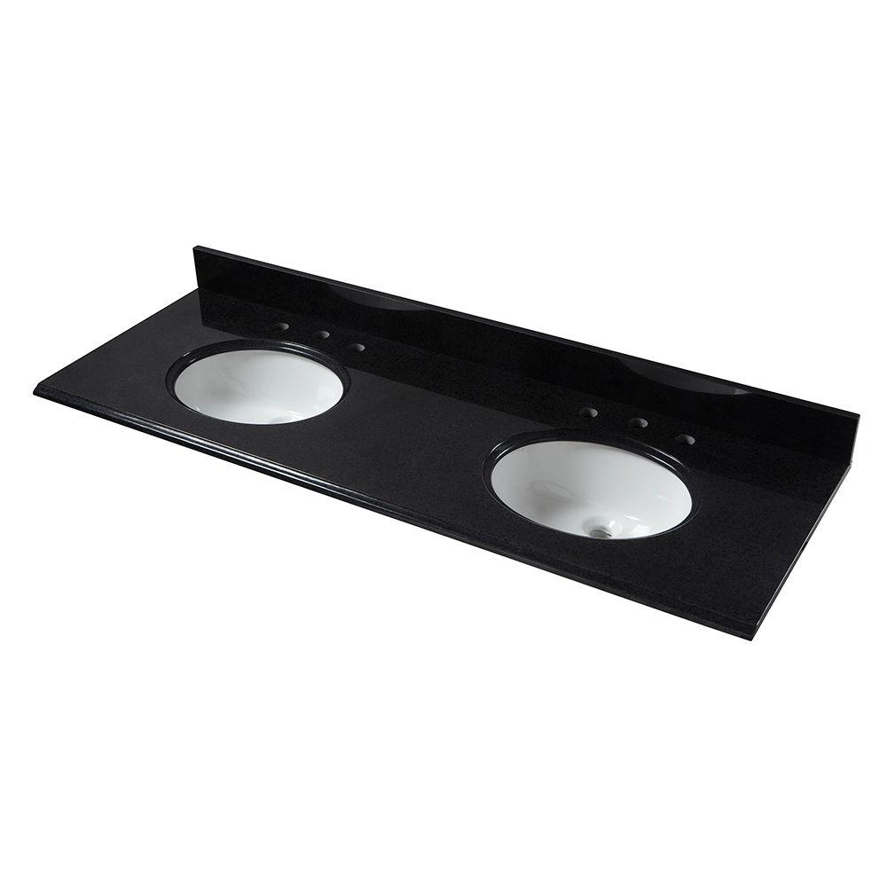 W Granite Vanity Top In Black With Double White Bowls And 8 In
