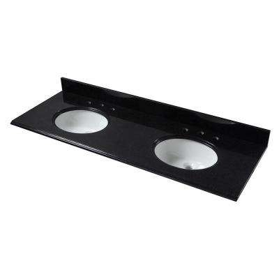 61 in. W Granite Vanity Top in Black with Double White Bowls and 8 in. Faucet Spread