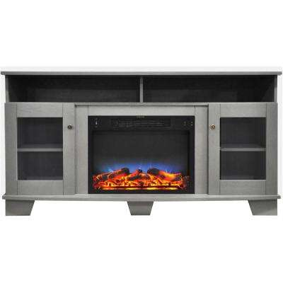 Savona 59 in. Electric Fireplace in Gray with Entertainment Stand and Multi-Color LED Flame Display