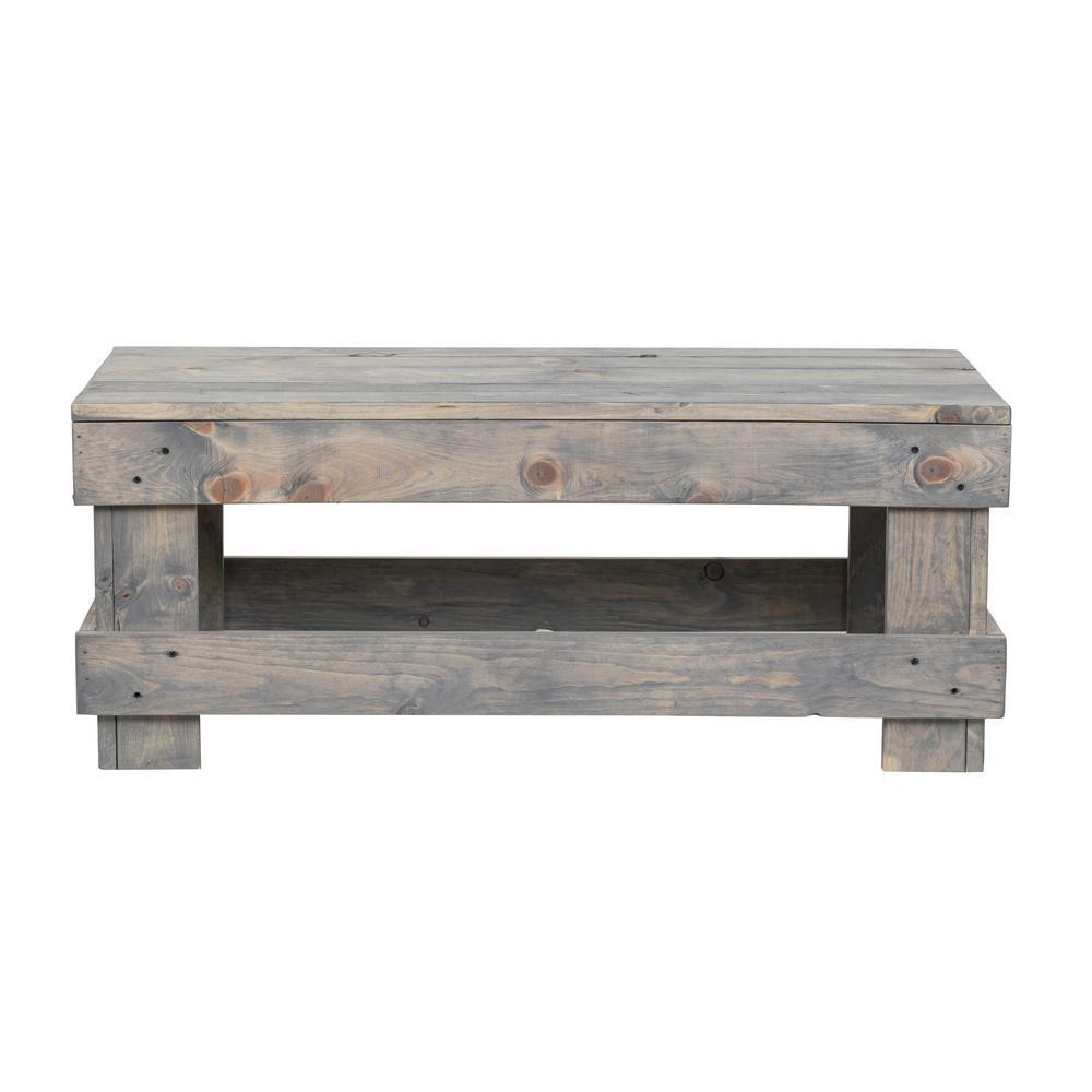 Landmark 16 in. Gray Pine Wood Coffee Table
