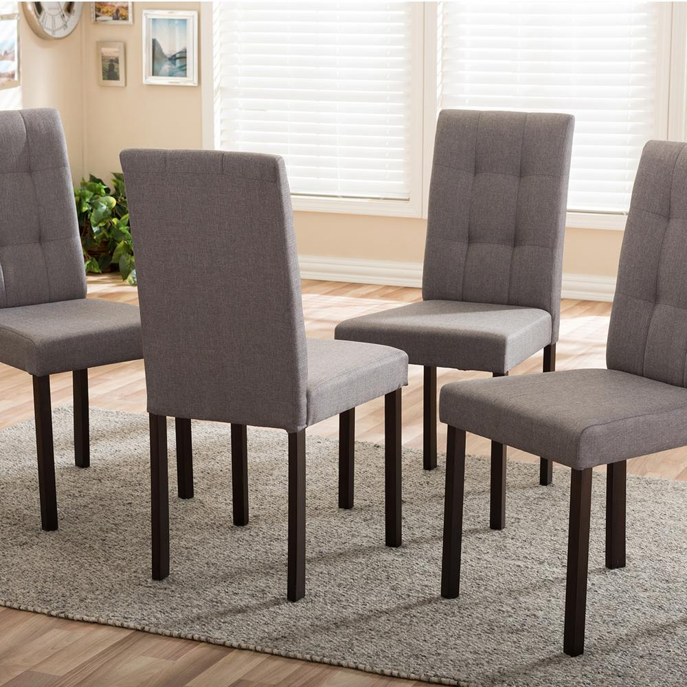Baxton Studio Andrew 9 Grids Gray Fabric Upholstered Dining Chairs Set Of 4 4pc 6810 Hd The Home Depot