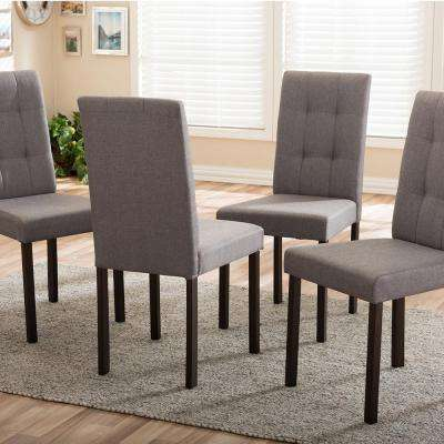 majestic looking gray upholstered dining chairs. Andrew 9 Grids Gray Fabric Upholstered Dining  Chairs Kitchen Room Furniture The Home Depot