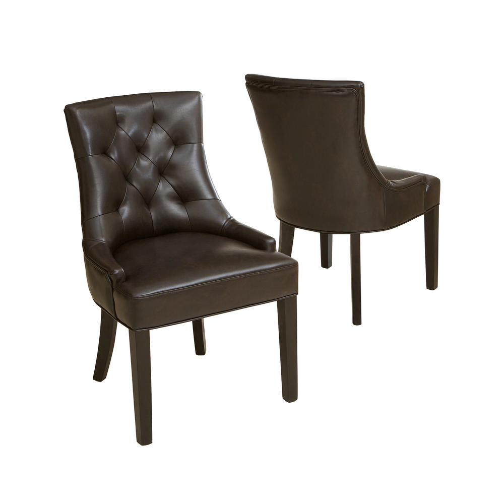 Noble House Hayden Brown Leather Tufted Dining Chairs (Set Of 2)