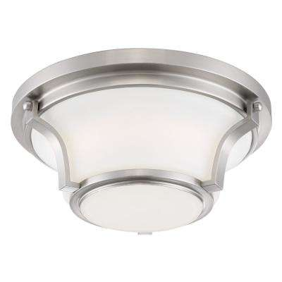 120-Watt Equivalent Brushed Nickel Integrated LED Flushmount with Frosted White Glass Shade