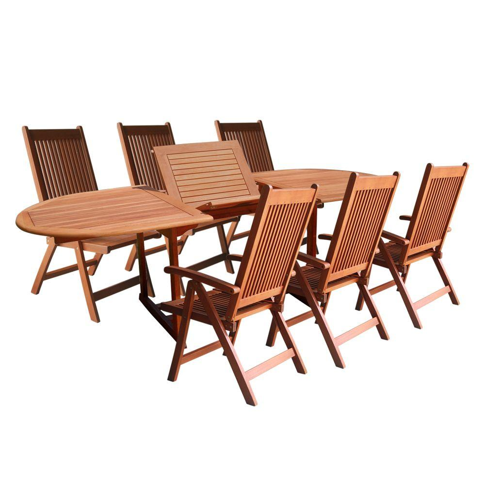 Vifah eucalyptus 7 piece patio dining set with oval for Jardin 8 piece dining set