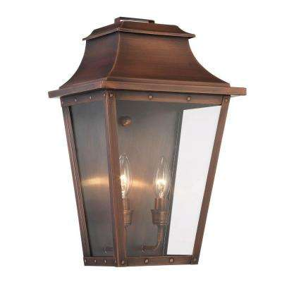Coventry Collection 2-Light Copper Patina Outdoor Wall Lantern