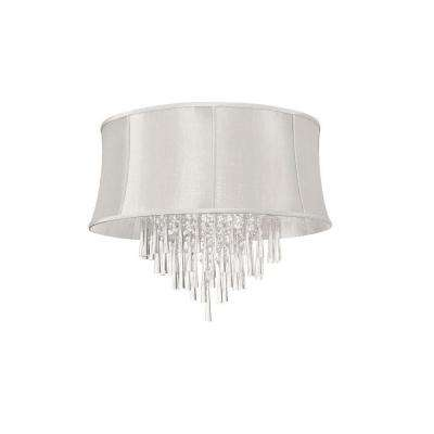 Catherine 8 Light Halogen Polished Chrome Chandelier with Linen Shades