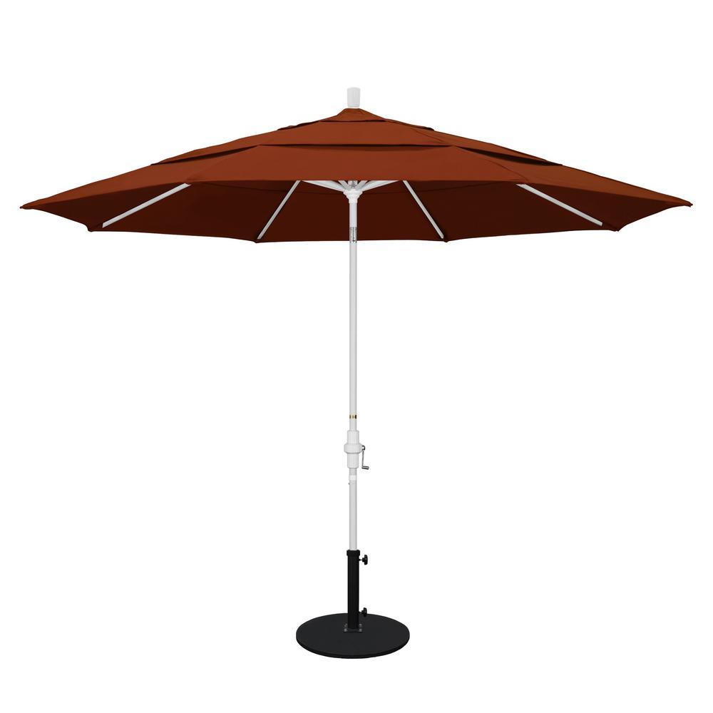 Superieur California Umbrella 11 Ft. Aluminum Collar Tilt Double Vented Patio Umbrella  In Brick Pacifica