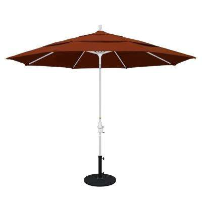 11 ft. Aluminum Collar Tilt Double Vented Patio Umbrella in Brick Pacifica