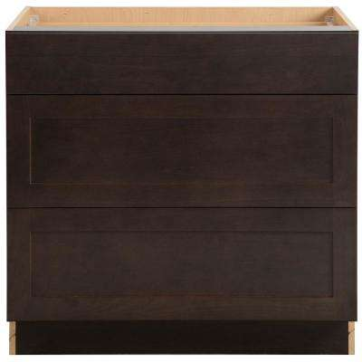 Cambridge Assembled 36 in. x 34.5 in. x 24.6 in. Base Cabinet with 3-Soft Close Drawers in Dusk