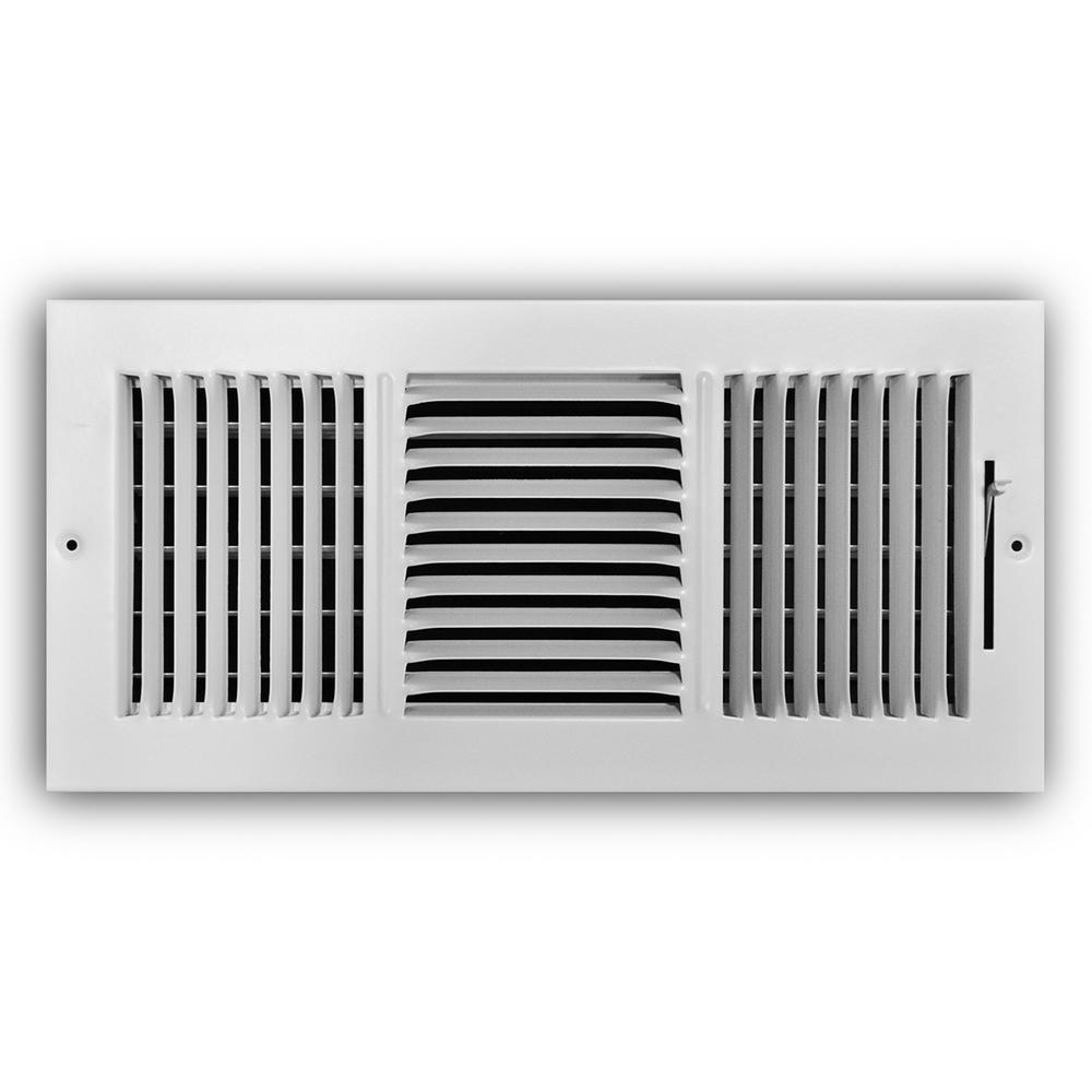 14 in. x 6 in. 3-Way Steel Wall/Ceiling Register in White