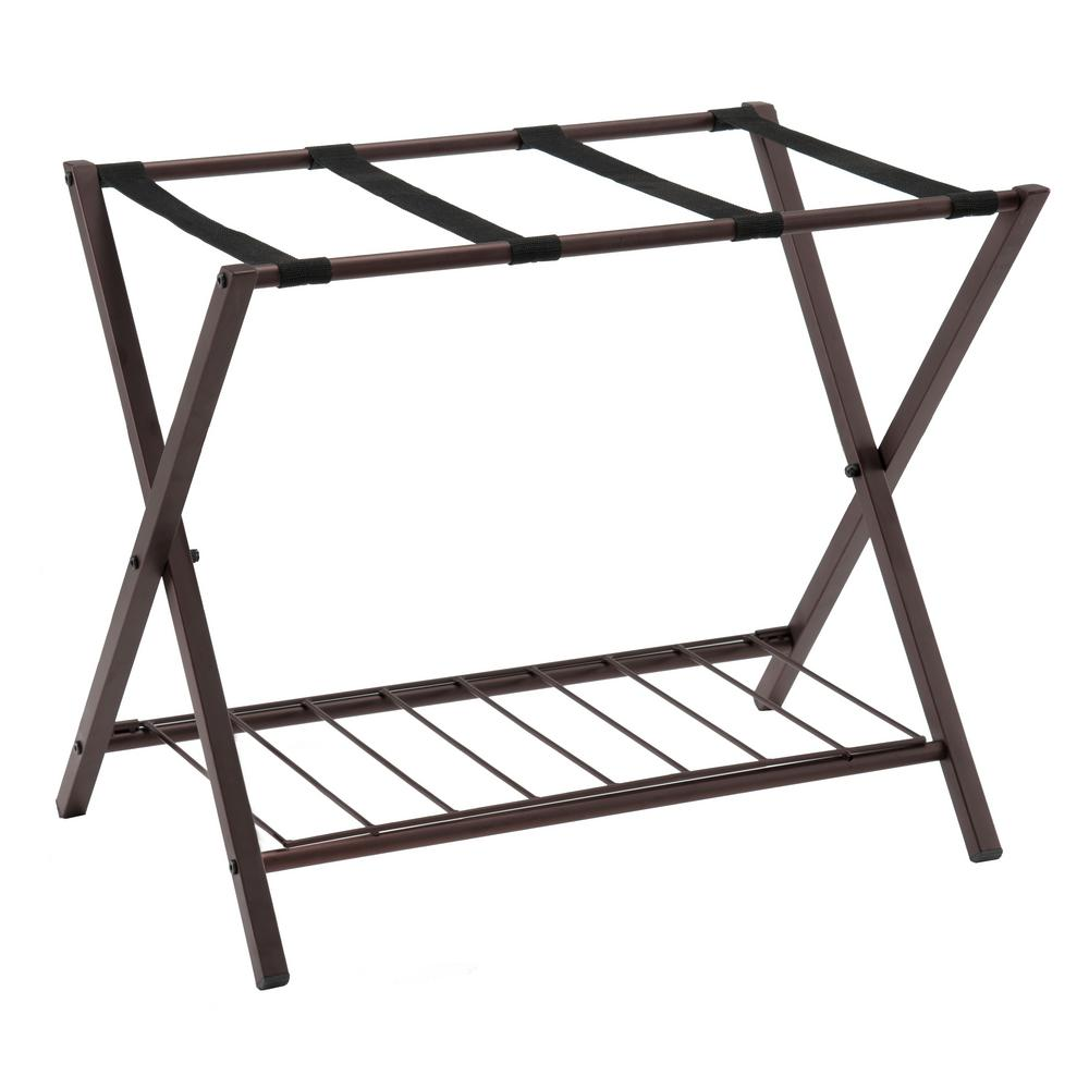 Dark Bronze Metal Folding Luggage Rack with Shelf