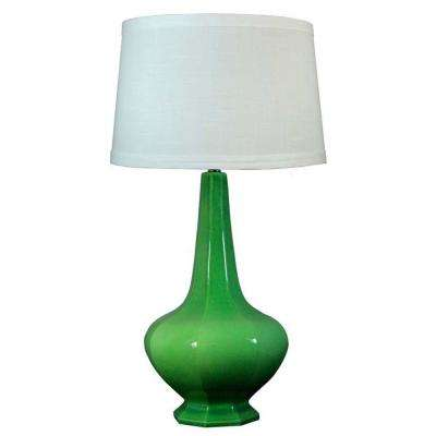 30 in. Jewel Green Crackle Ceramic Table Lamp