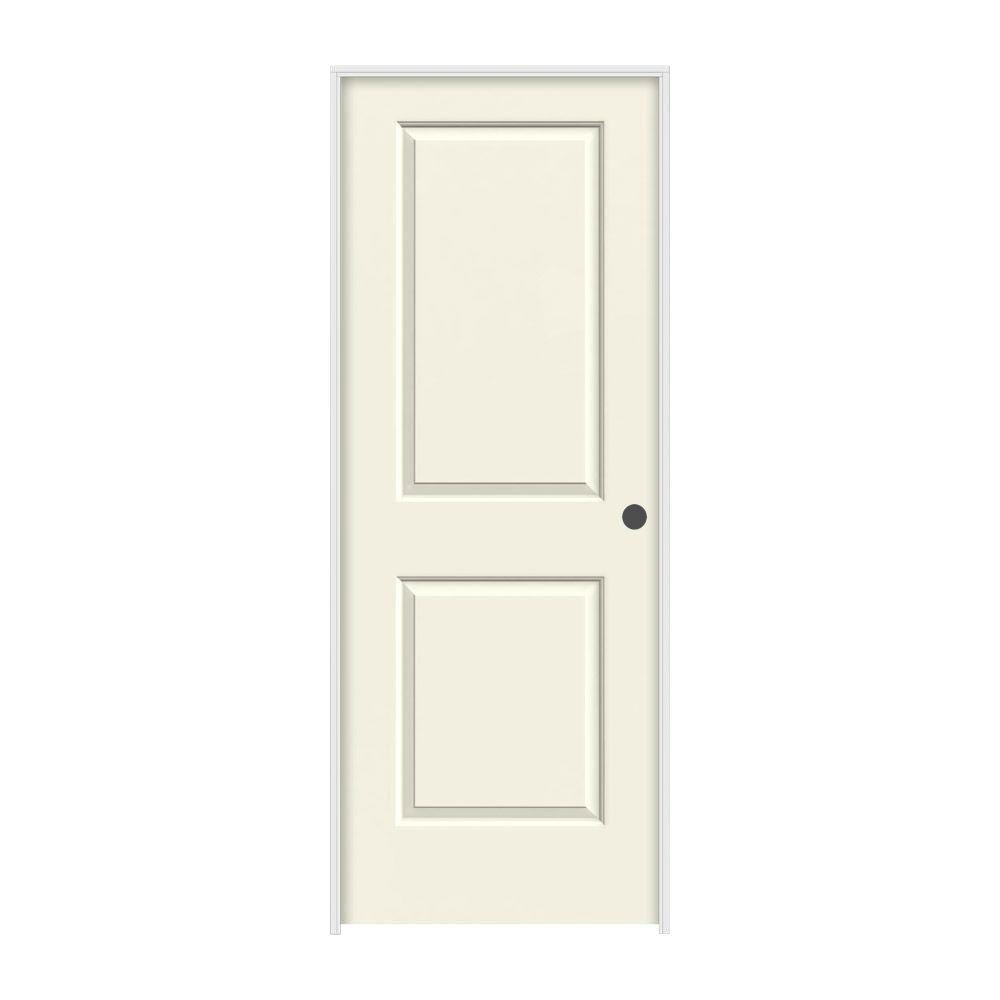 JELD-WEN 24 in. x 80 in. Cambridge Vanilla Painted Left-Hand Smooth Molded Composite MDF Single Prehung Interior Door
