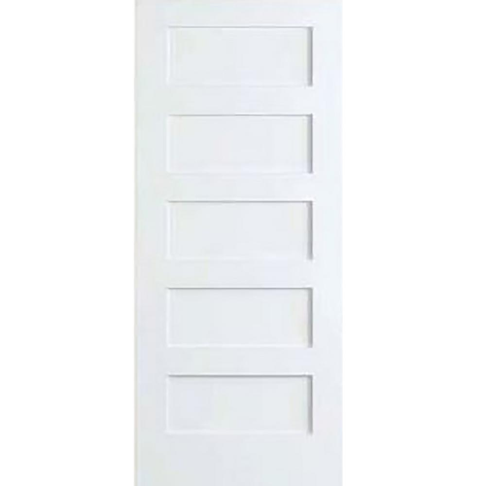 Kimberly bay 36 in x 80 in white 5 panel shaker solid core wood interior door slab dpsha5w36 for Solid wood panel interior doors
