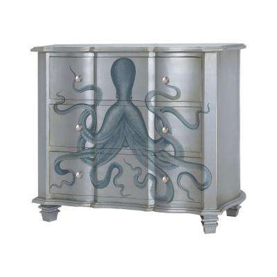Gorgon 3-Drawer Silver and Blue Chest