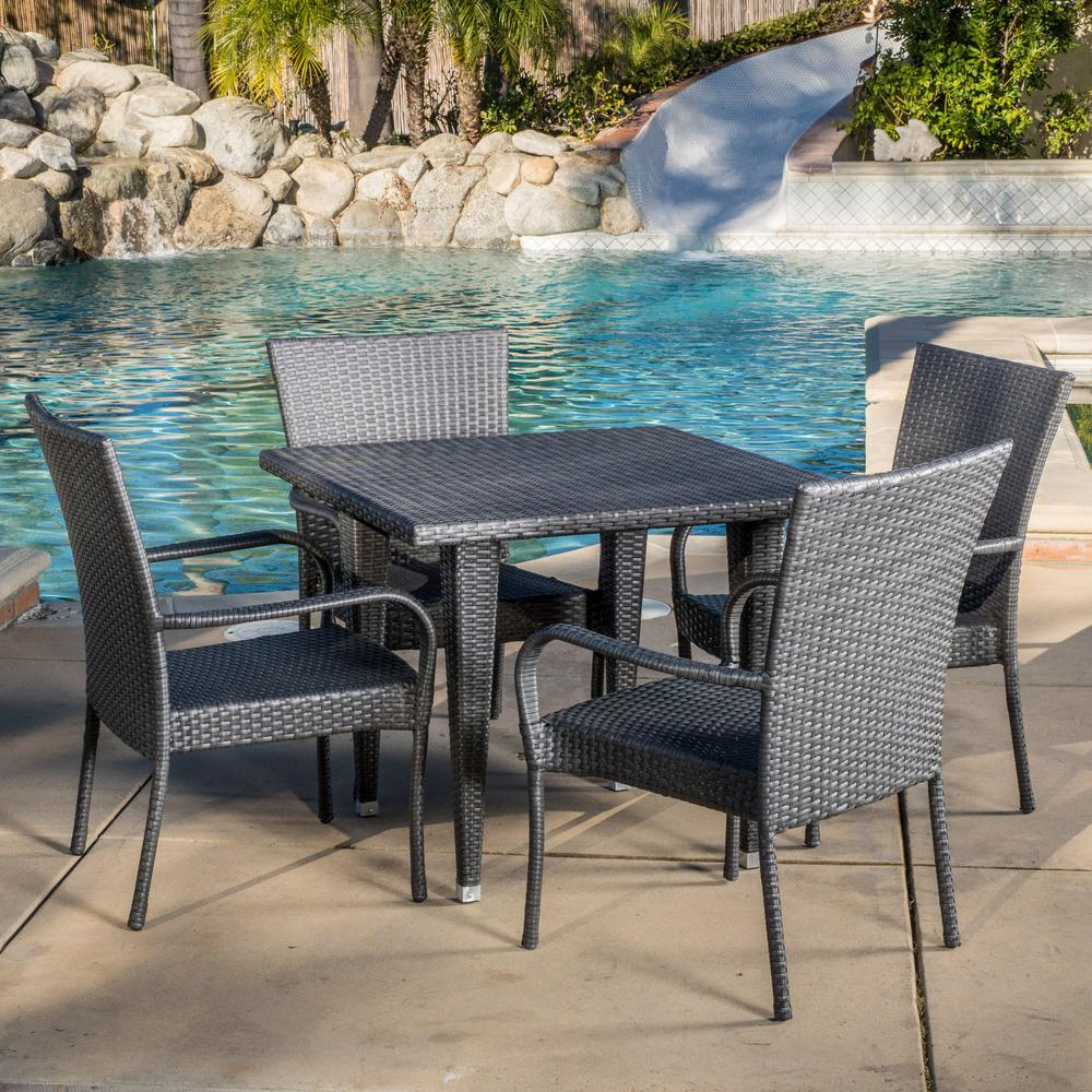 Phenomenal Noble House Delani Gray 5 Piece Wicker Outdoor Dining Set Short Links Chair Design For Home Short Linksinfo