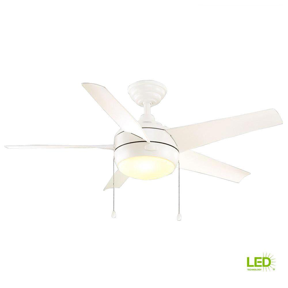 Windward 44 in. LED Indoor Matte White Ceiling Fan with Light