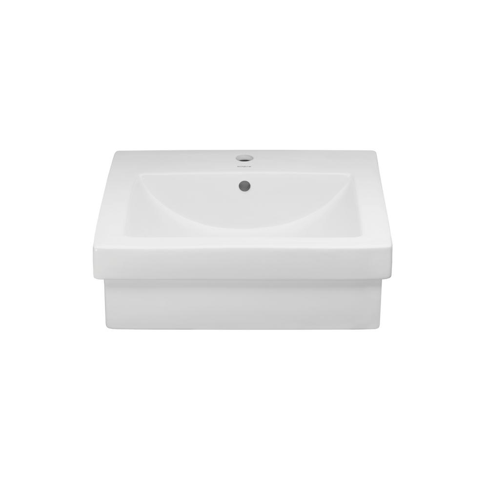 Ronbow Essentials Camber Vessel Sink In White 200213 WH   The Home Depot