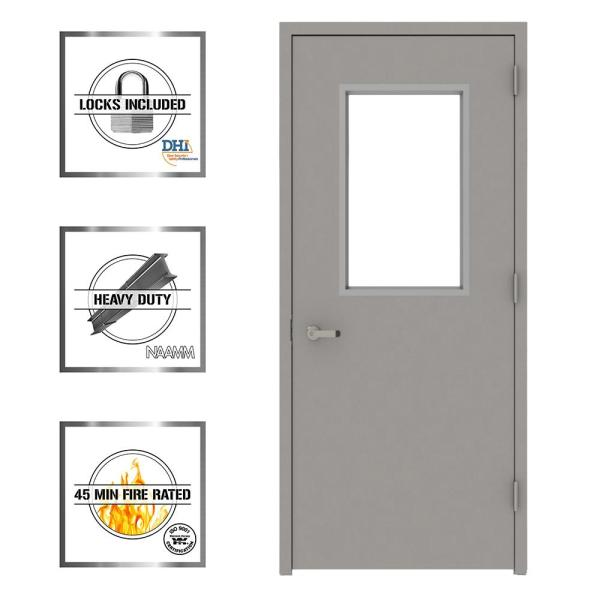 L I F Industries 36 In X 80 In Gray Vision 1 2 Lite Left Hand Steel Prehung Commercial Door With Welded Frame Uwhg3680l The Home Depot