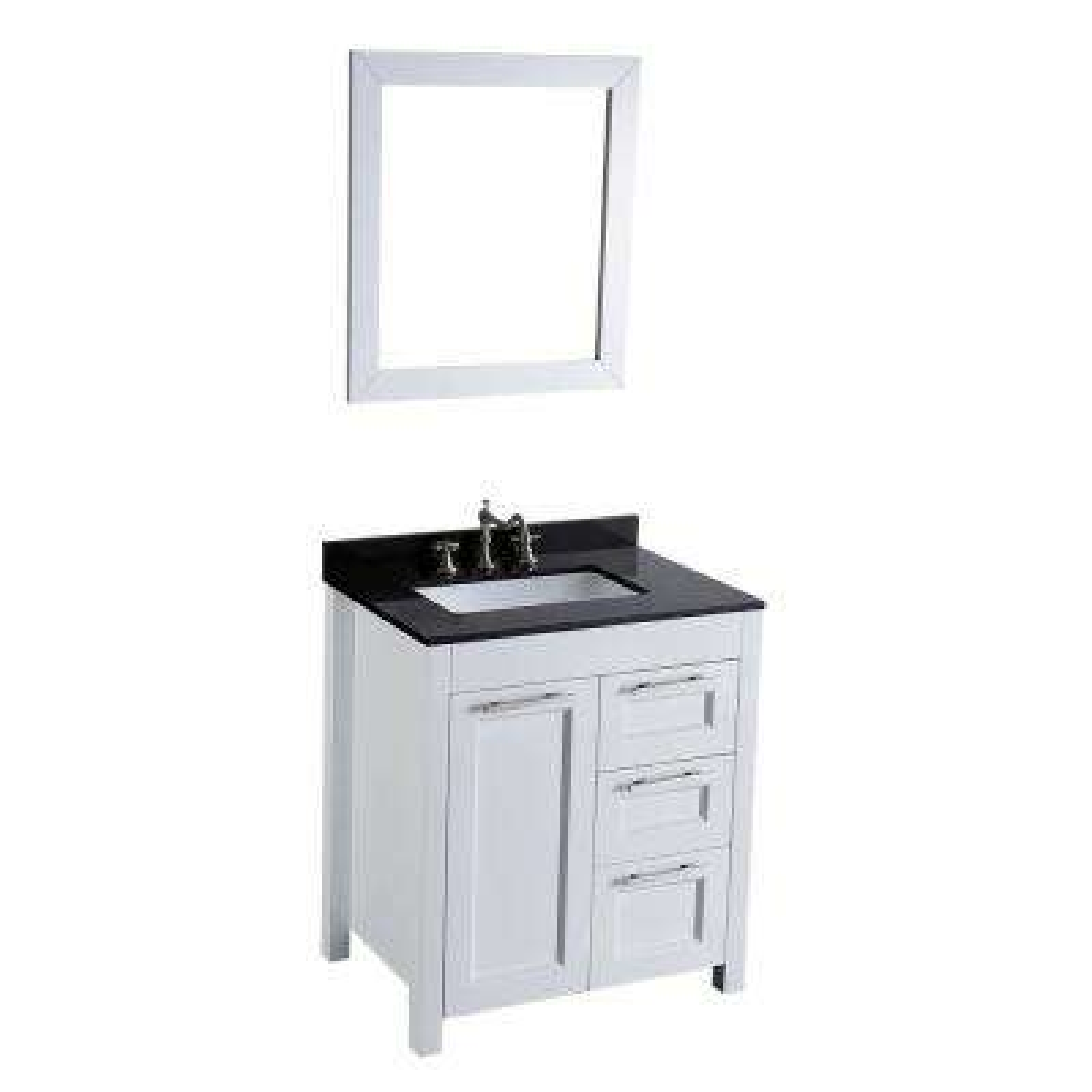 Bosconi 30 in. W Single Bath Vanity in White with Black Granite Vanity Top in Black White Basin and Mirror
