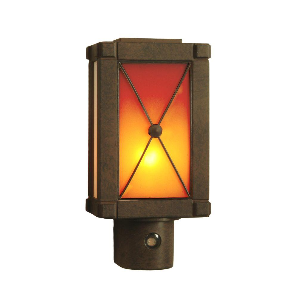 Amerelle Carriage Lamp-Style Automatic Night Light with Rust Finish-DISCONTINUED