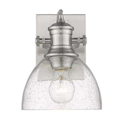 Hines 1-Light Pewter with Seeded Glass Bath Vanity Light