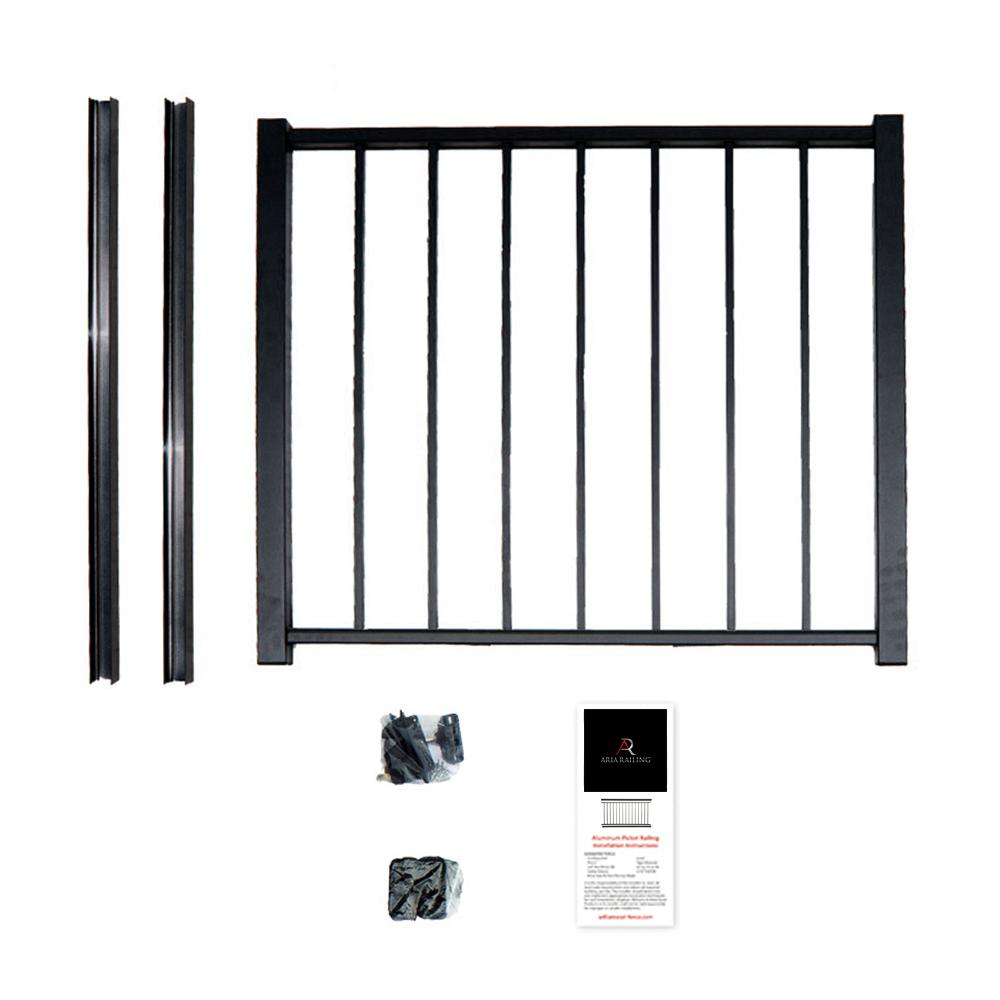 Aria Railing 40 In X 36 Black Powder Coated Aluminum Preembled Deck Gate Kit