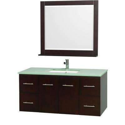 Centra 48 in. Vanity in Espresso with Glass Vanity Top in Aqua and Square Porcelain Undermounted Sink and Mirror