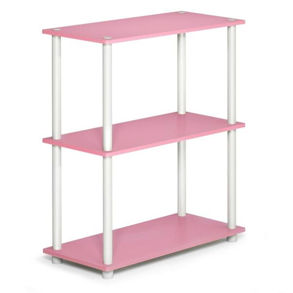 Furinno Turn-N-Tube Compact Pink/White Open Bookcase 10024PI/WH
