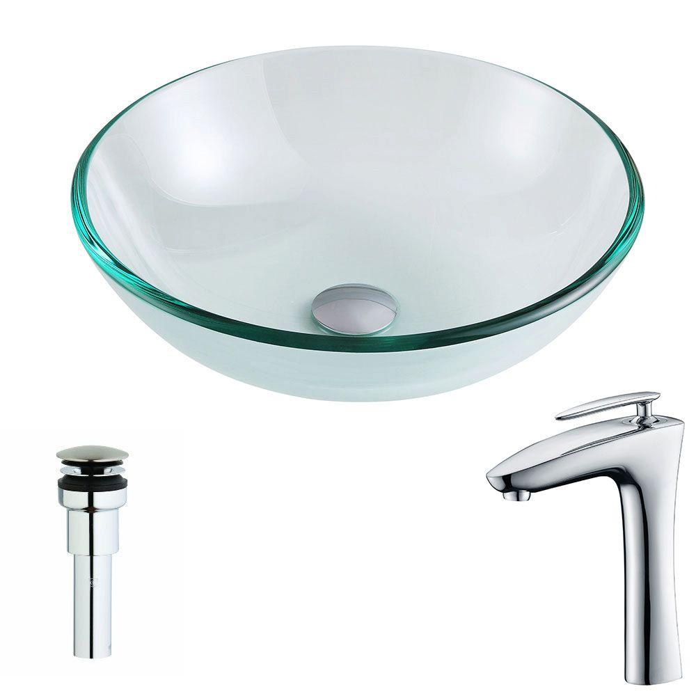 Etude Series Deco-Glass Vessel Sink in Lustrous Clear with Crown Faucet