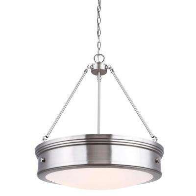 Boku 4-Light Brushed Nickel Chandelier with Flat Opal Glass Shade