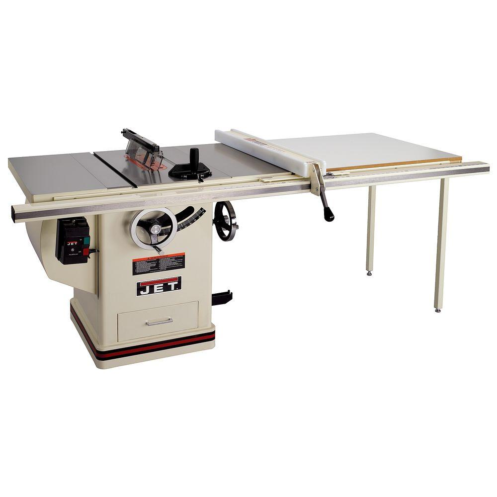 Jet 5 Hp 10 In Deluxe Xacta Saw Table Saw With 50 In Fence Cast Iron Wings And Riving Knife