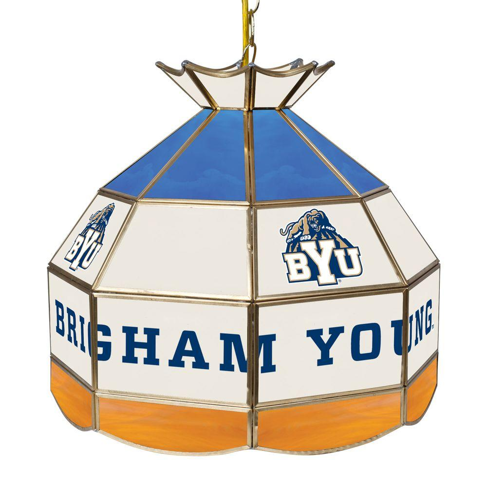 Trademark Global BYU 16 in. Gold Hanging Tiffany Style Billiard Lamp